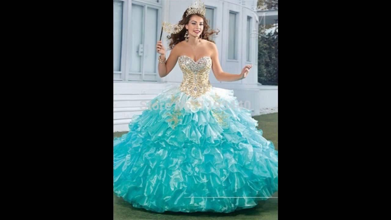 8d2e12533 vestidos de 15 verde agua - YouTube