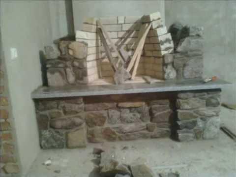Камин из камня. Stone Fireplace.