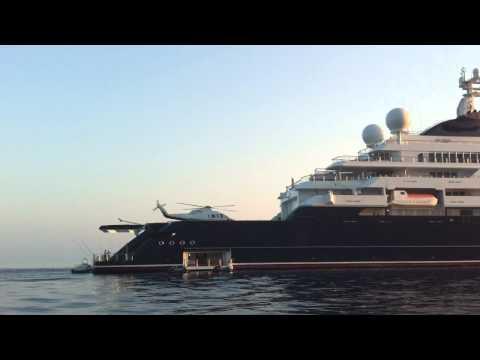 Paul Allen with Helipad on Octopus Mega Yacht in Sfakia Crete