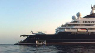 Paul Allen with Helipad on Octopus Mega Yacht in Sfakia Crete