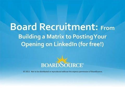 Board Recruitment Webinar 01 2014