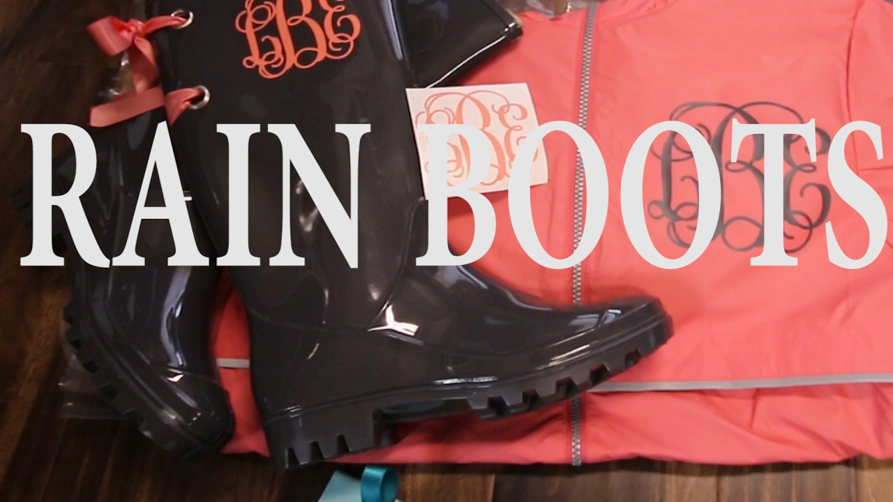 ef93ae57399f0 How to monogram rain boots and add bows and grommets to them! cute rain  boots