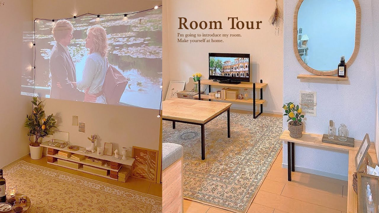 【ルームツアー】温かみのあるナチュラルなお部屋|DIYの手作りインテリア|見せる収納、隠す収納|プロジェクター|猫のいる生活|夫婦2人暮らし|2LDK Japanese  room tour