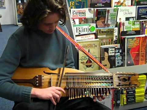 Richard playing a Nyckelharpa @ Hobgoblin Music Birmingham