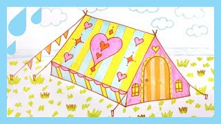 How to draw a TENT | Art colors for kids | easy step by step