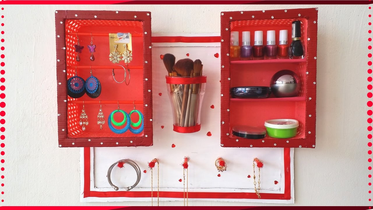 DIY Jewelry Holder Makeup Organizer Nail Polish Organizer using