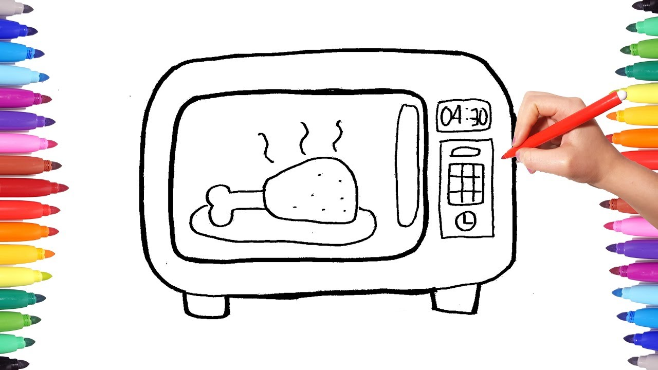 How To Draw A Microwave Oven Drawing And Coloring Kitchen Home Liances Learn