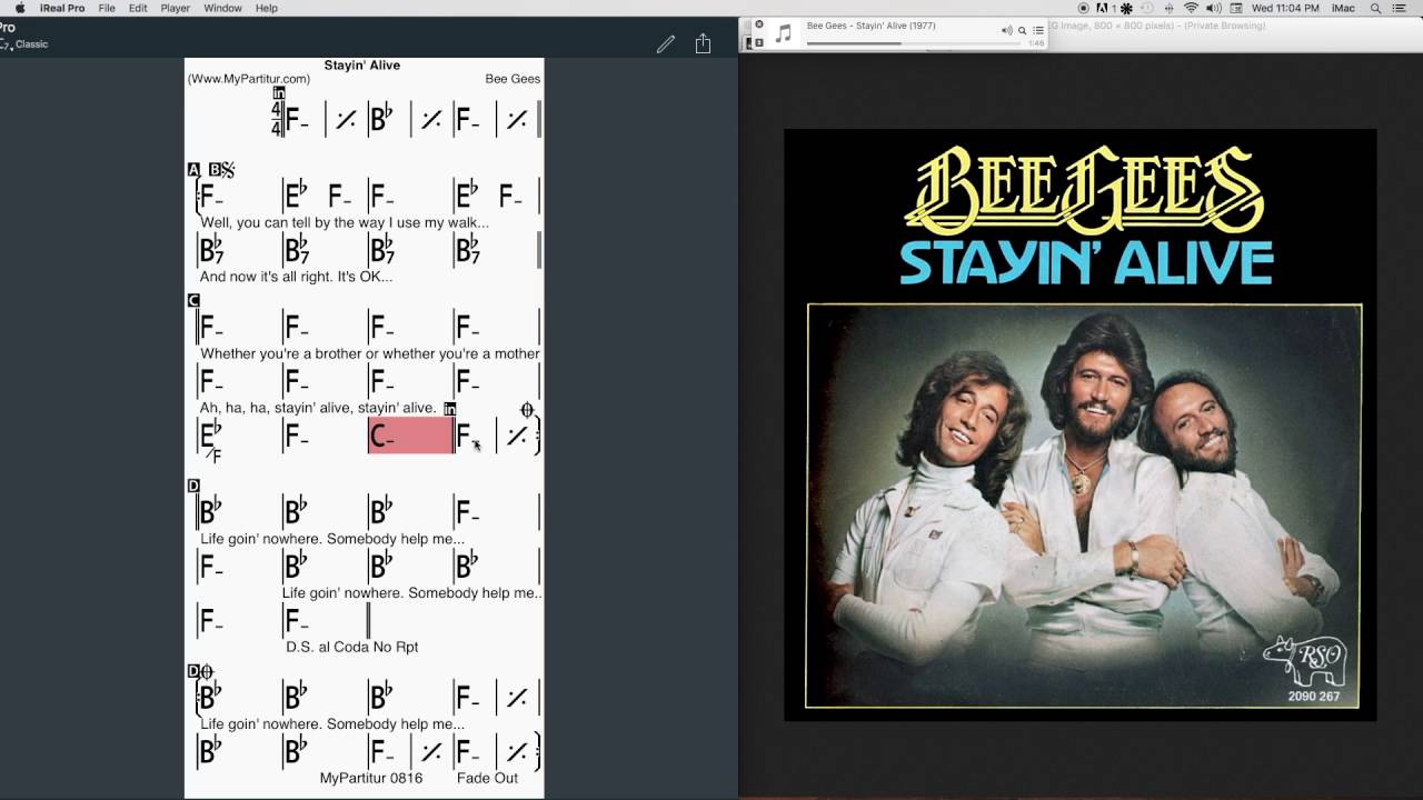 Stayin Alive Chords At Mypartitur Youtube