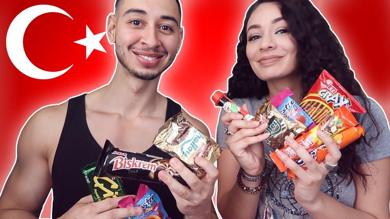 TURKISH SNACKS TASTE TEST 🇹🇷 with Turkish Girlfriend Turkish Culture  Reaction #1 | Jay & Rengin