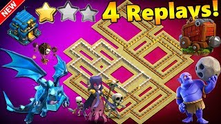🔥4 REPLAYS!🔥NEW TH12 WAR BASE 2018 ANTI 2 STAR Anti Everything BoWitch,Miner,Anti Queen Walk,Hog