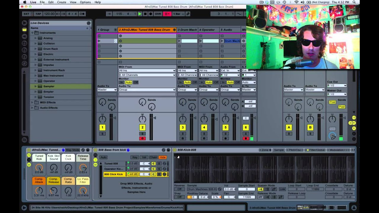 How to Create a Tuned 808 Bass Drum in Ableton Live [Free Ableton Rack 36]