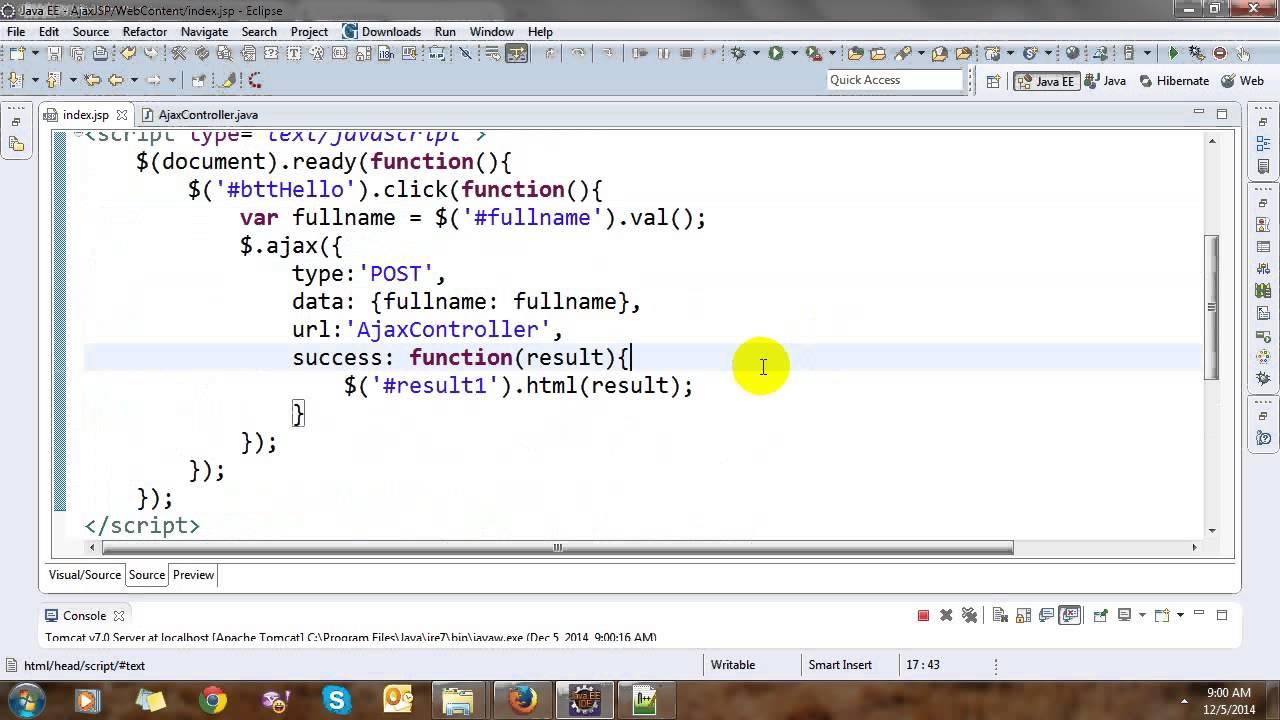 Jquery ajax jsp servlet java example journaldev.