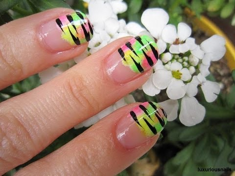 wild tiger stripe neon french tip