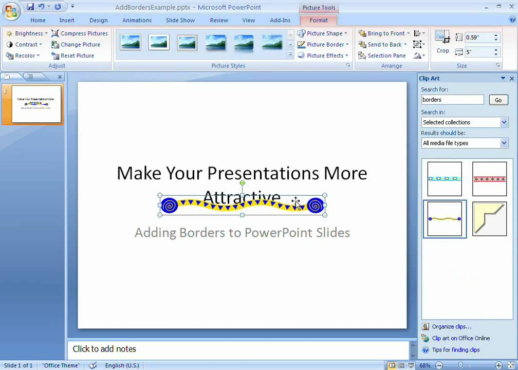 PowerPoint 2007 Demo Add borders to your slides - YouTube