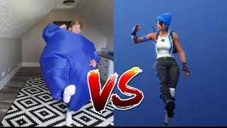 FORTNITE DANCE CHALLENGE in a BALLOON SUIT! (In Real Life) with Ashlund Jade