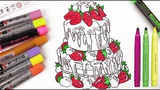 Funny marker | How to draw a festive cake |  Happy Birthday | For children and adults