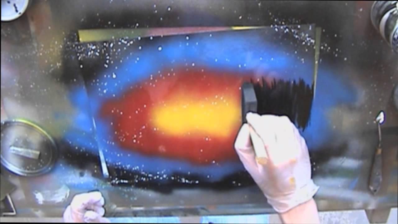 Spray Paint Art LIVE Tutorial: Basic sunset scene and foam brush ...