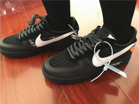 2ec9af8c07e10 On foot: Off White x Nike Air Force 1 One Low Black - YouTube