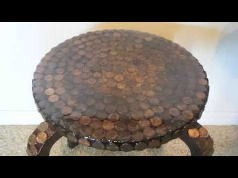 Diy How To Make A Penny Side Table Tutorial And Cover With