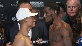 ROBERT EASTER TAUNTS A STONE FACED MIKEY GARCIA DURING FACE OFF! FULL WEIGH IN VIDEO