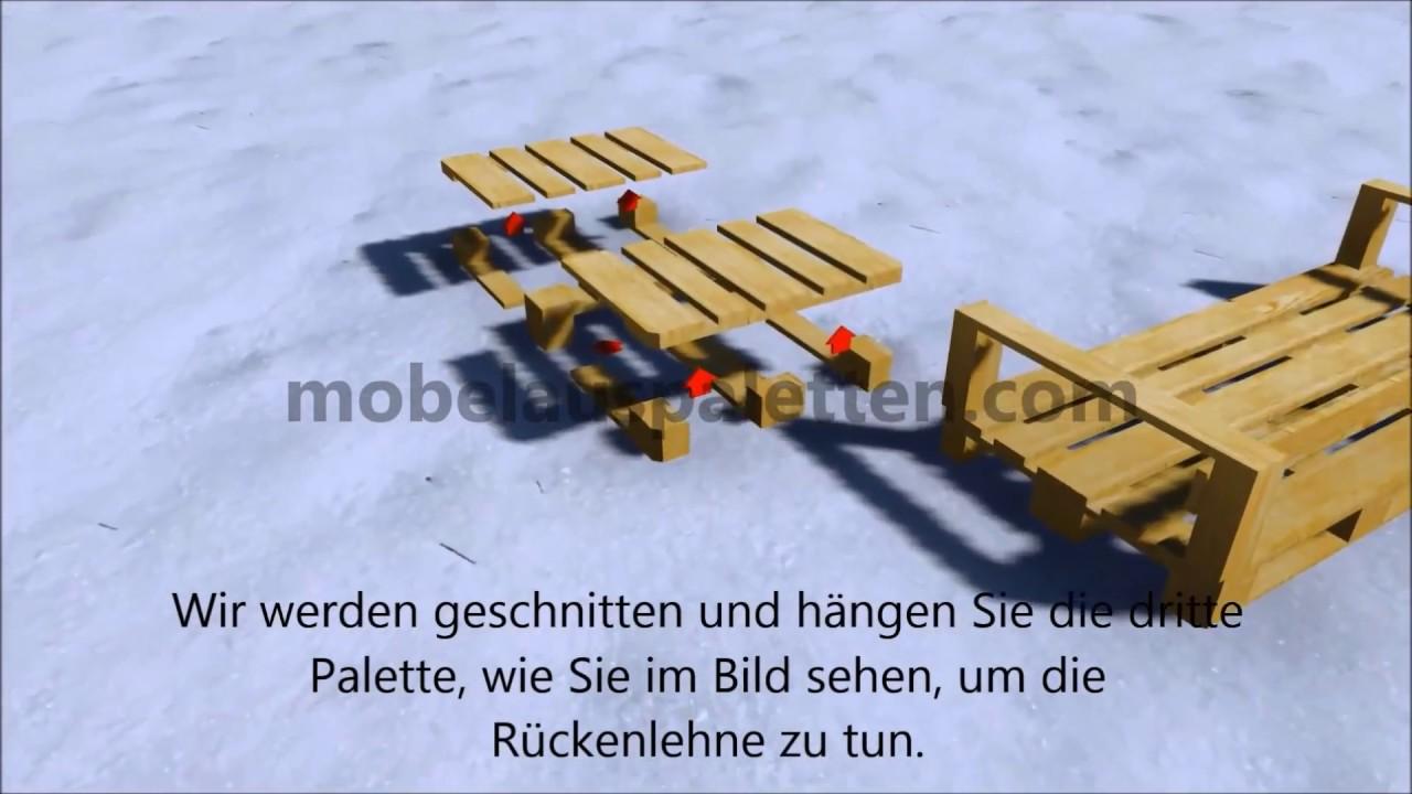 outdoor sofa mit paletten youtube. Black Bedroom Furniture Sets. Home Design Ideas