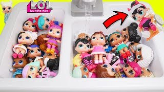 NEW LOL Surprise Dolls Lil Sisters at Sink Pool Slide