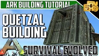 ARK BUILDING TIPS/TUTORIAL - HOW TO BUILD A BOX QUETZAL - RAIDING AND FARMING QUETZ BUILD!
