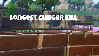 Longest Ever Clinger Shot In Fortnite (266m) WORLD RECORD!