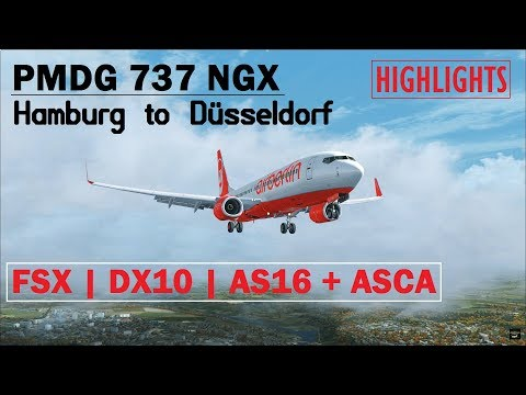FSX DX10 | PMDG 737 NGX | Hamburg to Düsseldorf with PF3 ATC | Highlights