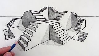 How to Draw Stairs: Step by Step in 2-Point Perspective