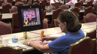 Bingo Player Daubing and Electronic Screen at the South Coast Casino Parlor in Las Vegas Nevada NV