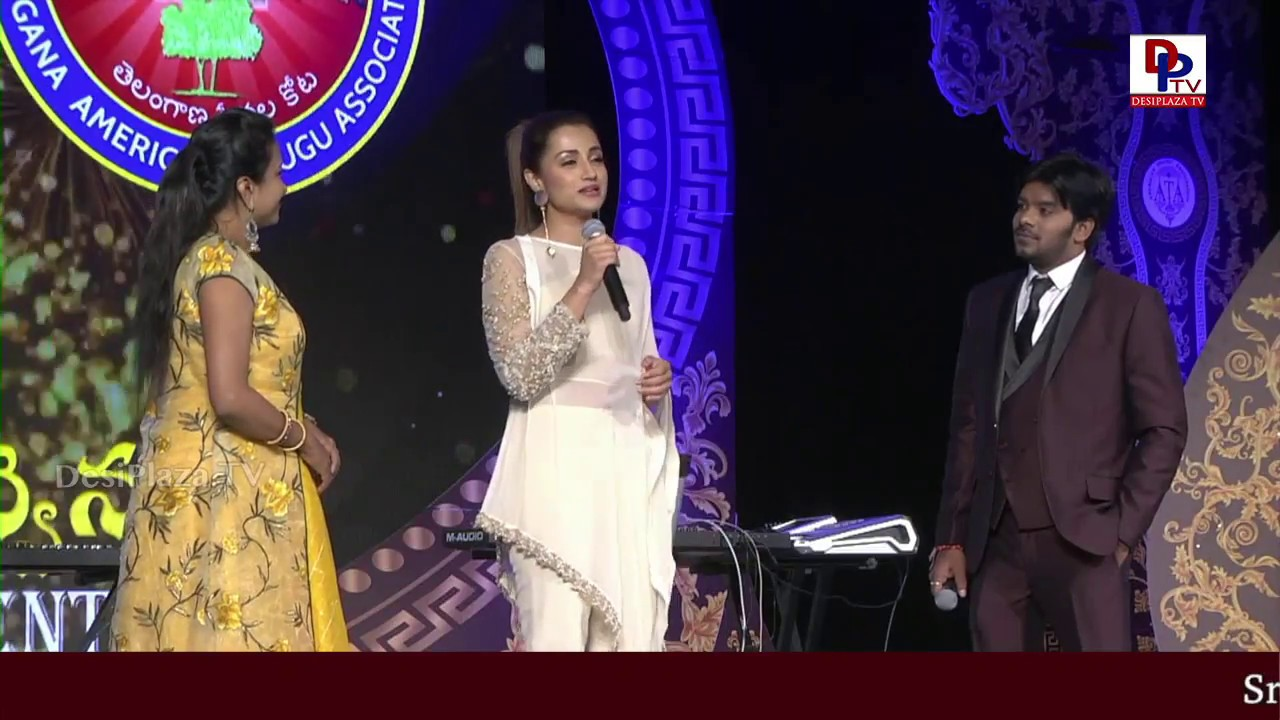 Trisha Cute speech and comedy with Sudheer at American Telugu Convention in Dallas | DesiplazaTV