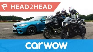 BMW M2 vs BMW motorcycle with pillion - which is quickest | Head2Head