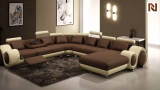 Contemporary Brown And Beige Leather Sectional Sofa  Vgev4084-6 From Vig Furniture