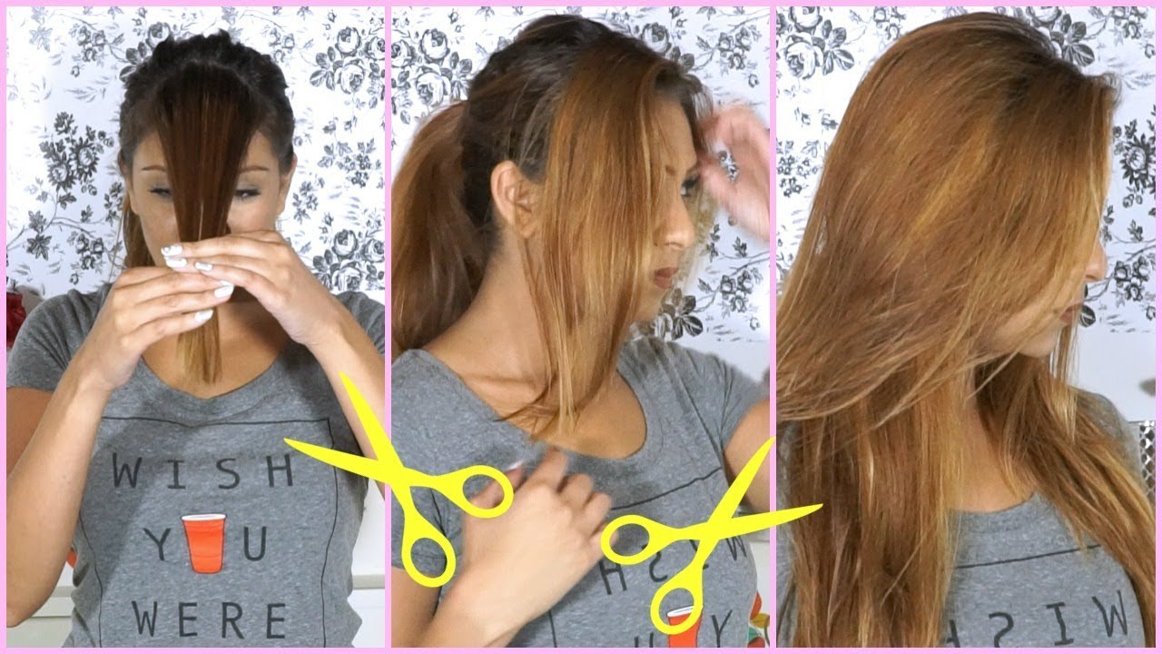 How To Cut Your Hair At Home Side Swept Bangs Hair Cutting Tutorial
