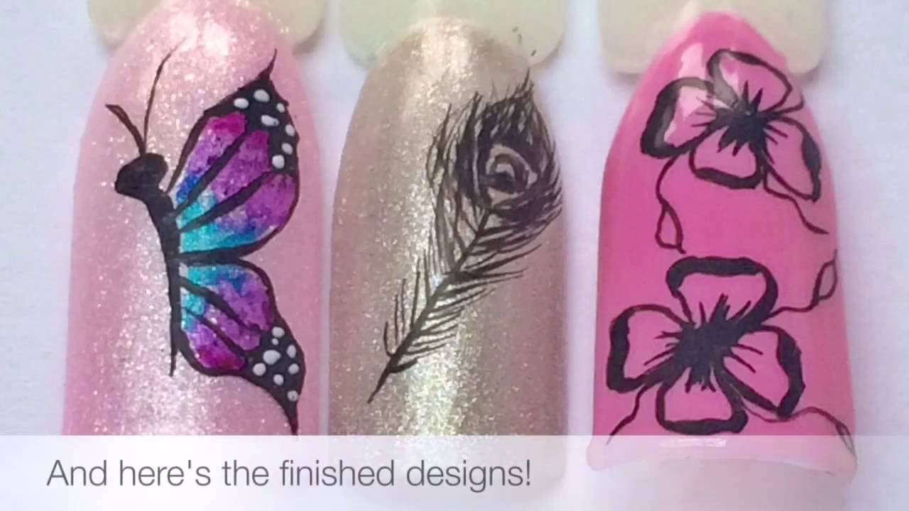 How To Draw Freehand Nail Art with Acrylic Paint - YouTube