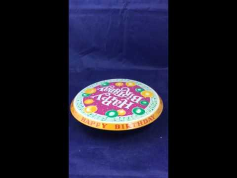Happy birthday revolving musical cake plate made in Japan 1