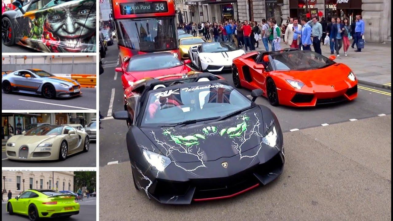 London Supercar Insanity #51 - Epic Lamborghini Convoy, Veyron, GT12 & More!