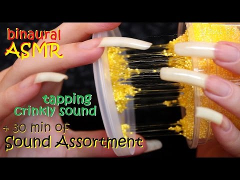 🎧 ASMR 🔊 SOUND ASSORTMENT: PLASTIC JAR of FOAM CLAY (1°part) 💤 tapping, scratching, crinkly sound ❤️