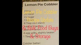 Lemon Pie Cobbler Update &amp Bulk Food Buys and Storage