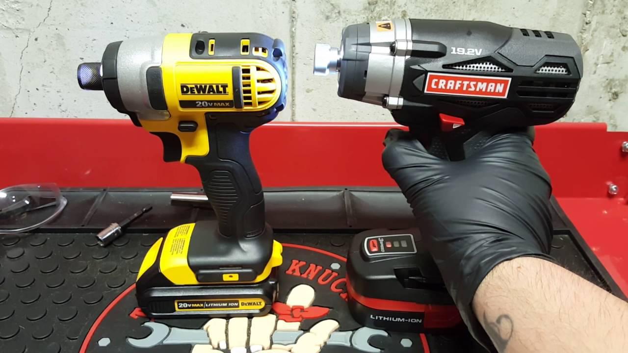 Dewalt 20v Max Impact Driver Vs Craftsman C3 19 2v Cordless You