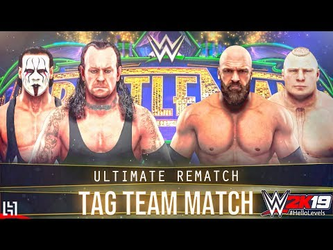 WWE 2K19 Undertaker And Sting Vs Triple H And Brock Lesnar | Tornado Tag Team Match Gameplay