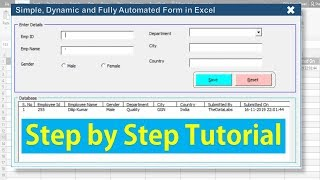 Fully Automated Data Entry User Form in Excel - Step By Step Tutorial