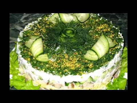 Учимся украшать салаты к Новому году