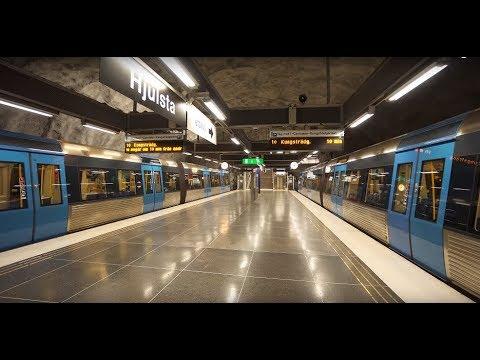 Sweden, Stockholm, Hjulsta subway station