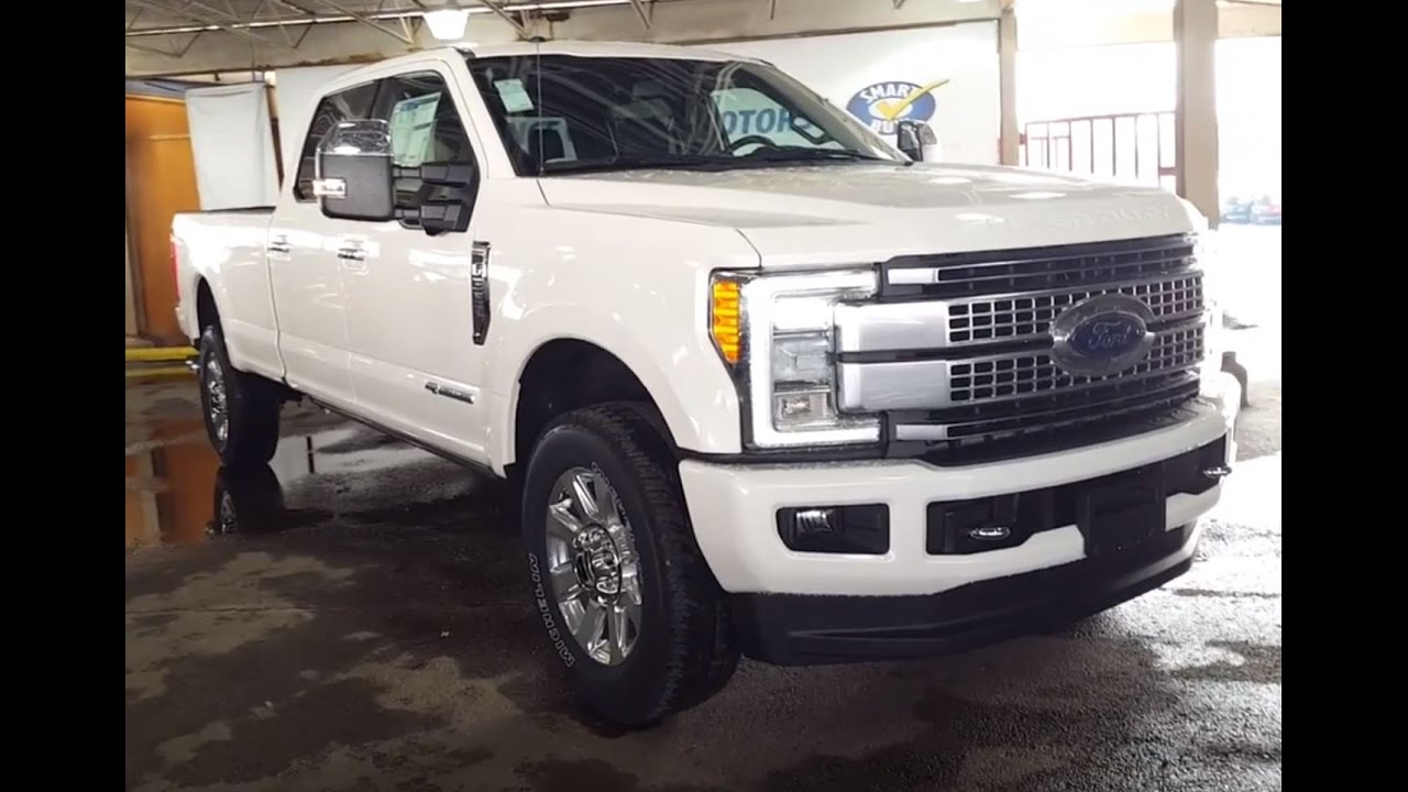 2017 White Ford Super Duty F-350 4X4 Crew Cab Platinum FX4 Review | PG Motors - YouTube