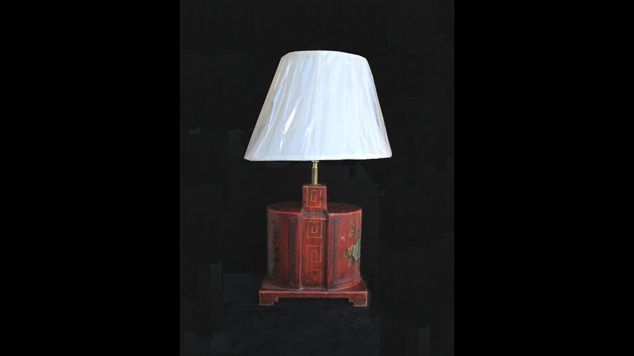 Chinese Red Leather Base Table Lamp Cs532
