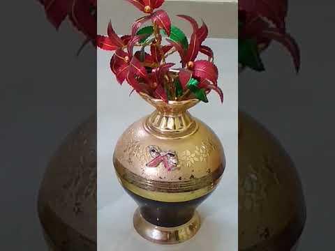Metal flower vase with Golden Trees