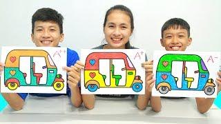 Tuk-Tuk Auto Rickshaw, Warna-Warni Belajar Menggambar dan Mewarnai untuk Anak