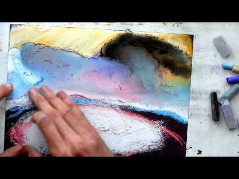 "isaac levitan ""above eternal peace"" – drawing landscape chalk art (part 1/4)"